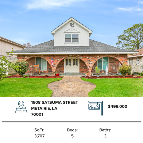 Home for sale in Metaire Jefferson parish house